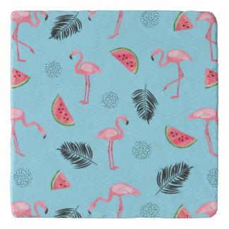 Trendy Tropical Flamingo & Watermelon Pattern Trivet