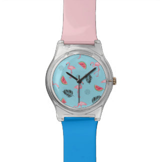 Trendy Tropical Flamingo & Watermelon Pattern Watch