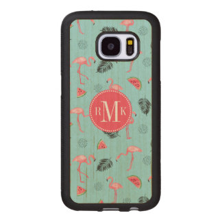 Trendy Tropical Flamingo & Watermelon Pattern Wood Samsung Galaxy S7 Case