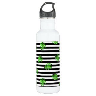 Trendy Tropical Leaves Black White Striped Decor 710 Ml Water Bottle