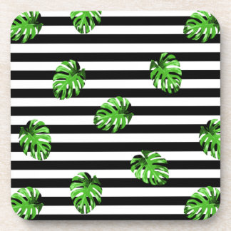 Trendy Tropical Leaves Black White Striped Decor Coaster