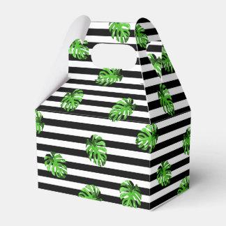 Trendy Tropical Leaves Black White Striped Decor Favour Box