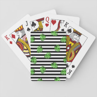 Trendy Tropical Leaves Black White Striped Decor Playing Cards