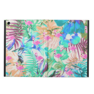 Trendy tropical teal pink floral flamingo iPad air cover