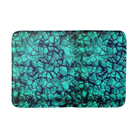 Trendy turquoise beach pebbles texture design bath mat