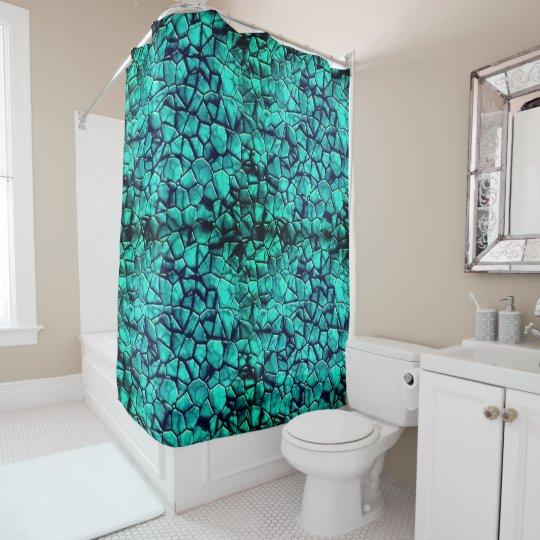 Trendy turquoise beach pebbles texture design shower curtain