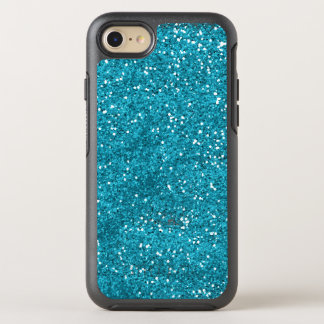 Trendy Turquoise Blue Glitter OtterBox Symmetry iPhone 8/7 Case