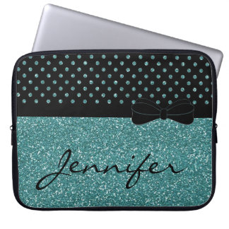 Trendy Turquoise Blue Glitter Personalized Laptop Sleeve