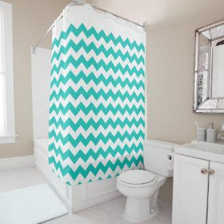 Trendy Turquoise Blue White Chevron Zigzag Pattern Shower Curtain