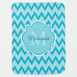 Trendy Turquoise Chevron Baby Name and Monogram Baby Blanket