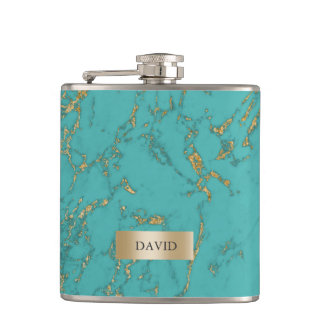 Trendy Turquoise & Gold Marble Texture Hip Flask