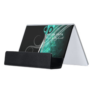 Trendy turquoise hair salon business card holder