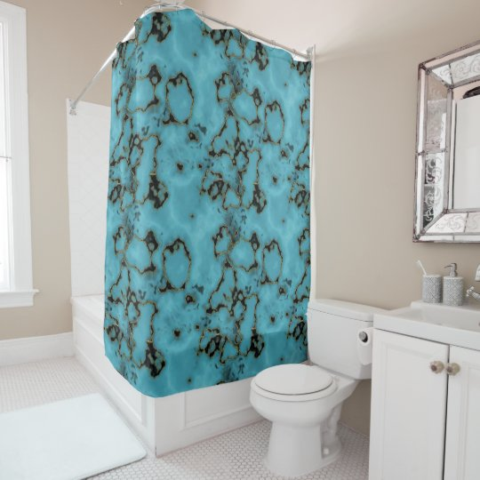 Trendy  turquoise marble stone texture design shower curtain