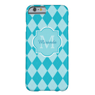 Trendy Turquoise Monogrammed Name Argyle Pattern Barely There iPhone 6 Case