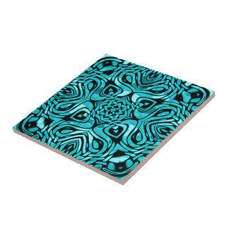 Trendy Turquoise Teal Blue African Mosaic Pattern Ceramic Tile