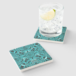 Trendy Turquoise Teal Blue African Mosaic Pattern Stone Beverage Coaster