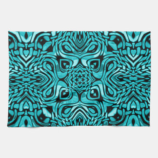Trendy Turquoise Teal Blue African Mosaic Pattern Towels
