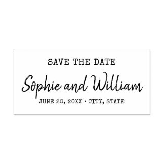 Trendy Typewriter and Script Save the Date Self-inking Stamp