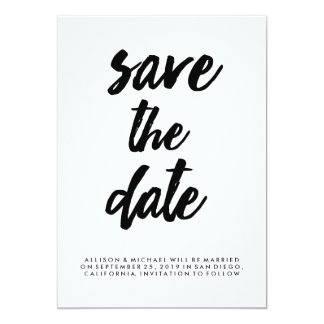 Trendy Typography Black and White Save the Date 13 Cm X 18 Cm Invitation Card