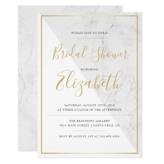 Trendy Typography | Chic Marble Bridal Shower Card