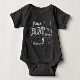 Trendy Typography Paris or Bust Baby Bodysuit