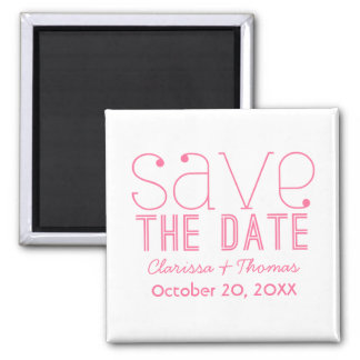 Trendy Typography Save the Date Magnet, Pink