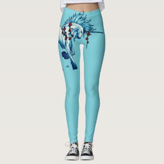 Trendy Unicorn Fantasy On Turquoise Leggings