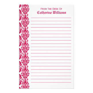 Trendy Victorian Hot Pink Lace Damask Side Border Stationery