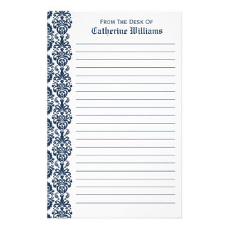 Trendy Victorian Navy Blue Lace Damask Side Border Stationery