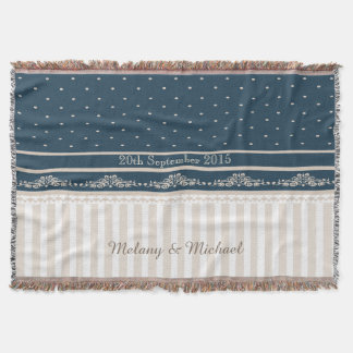 Trendy vintage damask lace stripes throw blanket