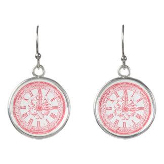 Trendy vintage drop earrings with beautiful clock