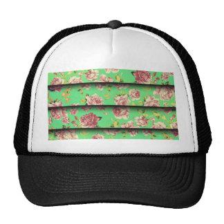 Trendy Vintage Elegant Teal Pink Floral Pattern Cap