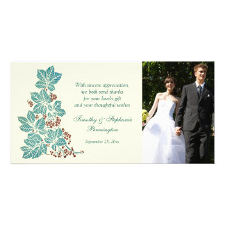 Trendy vintage floral stamp wedding thank you card photo greeting card