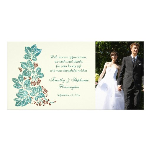 Trendy vintage floral stamp wedding thank you card photo card template