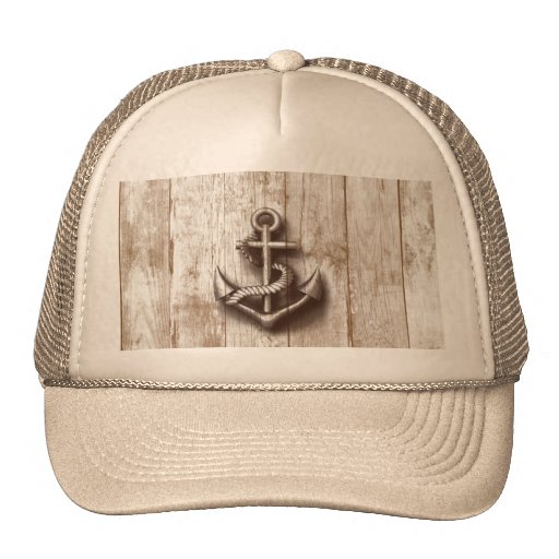 Trendy vintage rustic nautical anchor mesh hats