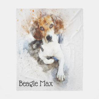 Trendy Watercolor Beagle Dog Personalized Fleece Blanket