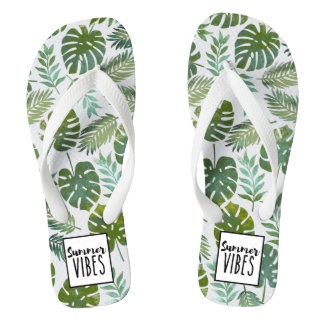 Trendy watercolor botanical floral summer vibes thongs