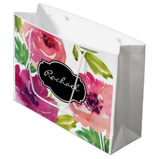 Trendy Watercolor Floral with Name Large Gift Bag