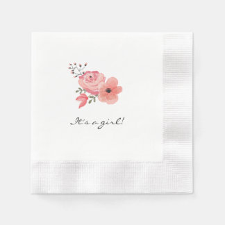Trendy Watercolor Flowers Baby Shower Paper Napkins