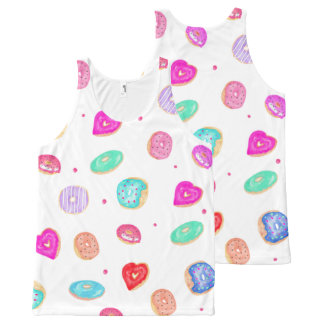 Trendy watercolor hand painted donuts food pattern All-Over print singlet