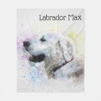 Trendy Watercolor Labrador Retriever Personalized Fleece Blanket