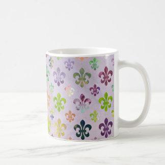 Trendy Watercolor Painting Fleur De Lis Pattern Basic White Mug