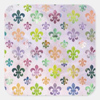 Trendy Watercolor Painting Fleur De Lis Pattern Square Sticker