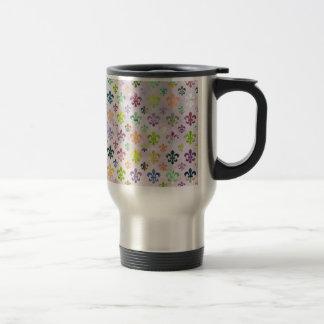 Trendy Watercolor Painting Fleur De Lis Pattern Stainless Steel Travel Mug