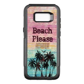 Trendy watercolor palm tree beach and typography OtterBox commuter samsung galaxy s8+ case
