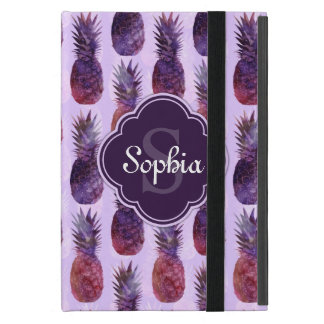 Trendy Watercolor Pineapple Pattern Cover For iPad Mini