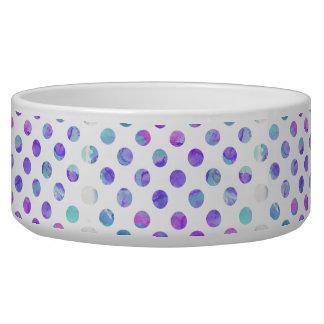 Trendy Watercolor Pink, Aqua, and Purple Polka Dot Pet Food Bowls