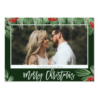 Trendy Watercolor Script Merry Christmas Photo Card