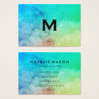 Trendy Watercolor with Monogram Business Card