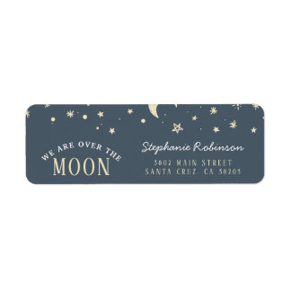 Trendy We Are Over The Moon Typography Baby Shower Return Address Label